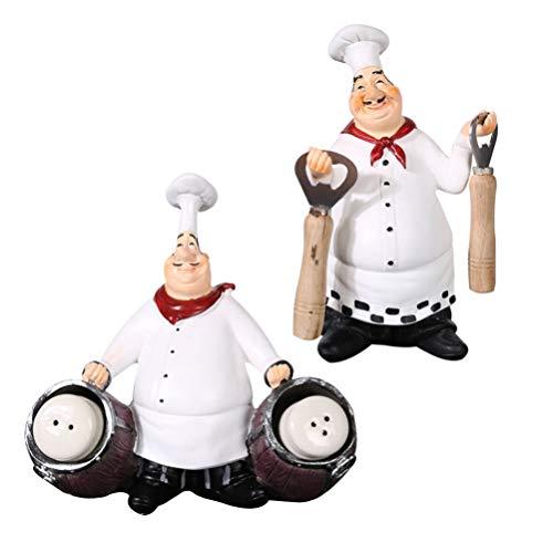 VOSAREA 2 Stück Kochfiguren Harz Koch Statue mit Zahnstocherhalter Und Öffner Tischfiguren Ornamente für Bürogeschäft nach Hause Weiß