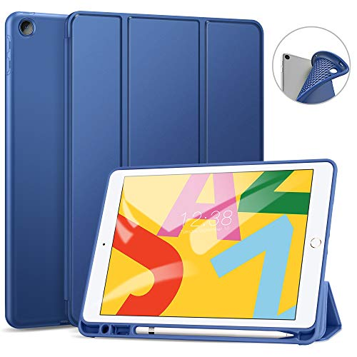 Ztotop Case for iPad 7th Generation 10.2 Inch 2019, Full Body Protective Rugged Shockproof Case with Pencil Holder, Trifold Stand with Auto Sleep/Wake Smart Case Cover for iPad 10.2 2019 - NavyBlue