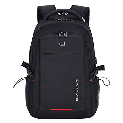 GOAIJFEN Casual rugzak waterdicht met USB-poort Outdoor Mountaineer lichtgewicht daypack past op de meeste polyester maten: zwart rood 33 * 20 * 46 cm (L * B * H)