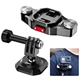 ULANZI Action Camera Backpack Quick Release Mount for Gopro, Backpack Shoulder Strap Mount Compatible for Gopro 5 6 7 8 9 Black Gopro Max DJI Osmo Action Insta360 One Vlog Hiking Travel Accessory