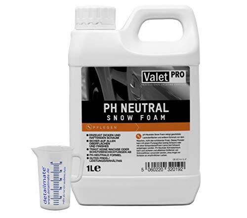 detailmate, schiuma ValetPRO, Snow Foam con pH neutro, per il lavaggio dell automobile, confezione da 1 litro incluso un misurino da 50 ml [etichetta in lingua italiana non garantita]