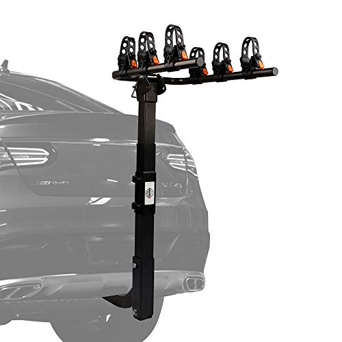 ZESUPER Deluxe Locking 3-Bike Rack Heavy Duty Bicycle Carrier for Cars, SUVS, Trucks, Vans and Minivans with a 2'' Hitch Receiver Rack Hitch Mount