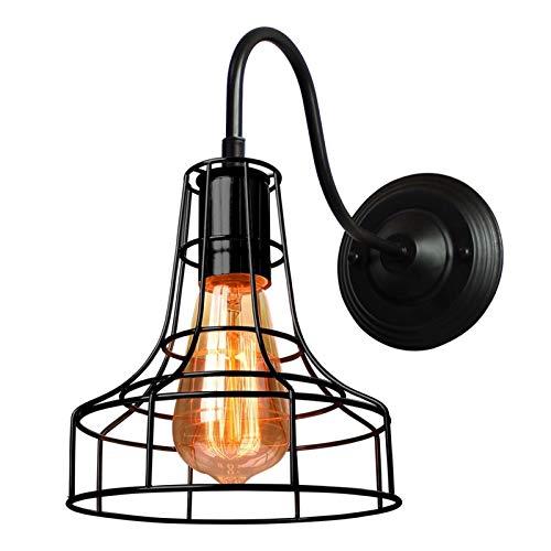 LHYLHY Luz de Pared LED Lámpara de Pared Industrial Lámpara de Pared Negro E27 Iron Pantalla de Hierro Jaula Guard Sconce Indoor Iluminación de Accesorios Bedroom (Lampshade Color : G)