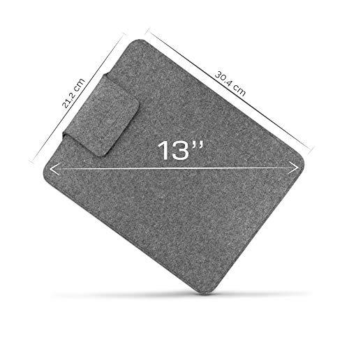 denc PREMIUM Laptop Tasche 13 Zoll - MacBook - Surface - Dell - Laptop Hülle - Schützhülle Laptop- 12,9, 13, 13,3 - 100 % Wolle - Schutzbedeckung - Innenmaße 1,56 x 30,4 x 21,2 cm