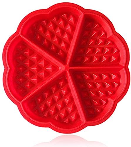 Buymoring Molde de silicona para gofres y panqueques para adelgazar World Waffles y recetas de desayuno, color rojo