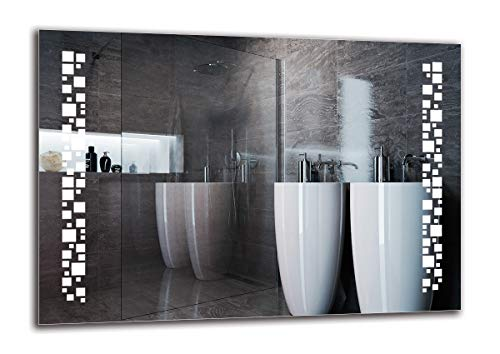 Espejo LED Premium - Dimensiones del Espejo 100x70 cm - Espejo de baño con iluminación LED - Espejo de Pared - Espejo de luz - Espejo con iluminación - ARTTOR M1ZP-46-100x70 - Blanco frío 6500K