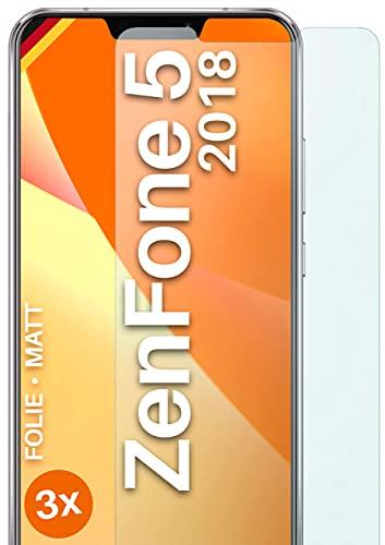 moex Schutzfolie matt kompatibel mit Asus Zenfone 5 (2018) - Folie gegen Reflexionen, Anti Reflex Bildschirmschutz, Matte Bildschirmfolie - 3X Stück