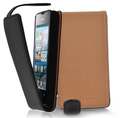Cadorabo Hülle für Huawei Ascend Y300 - Hülle in Oxid SCHWARZ – Handyhülle aus Strukturiertem Kunstleder im Flip Design - Case Cover Schutzhülle Etui Tasche