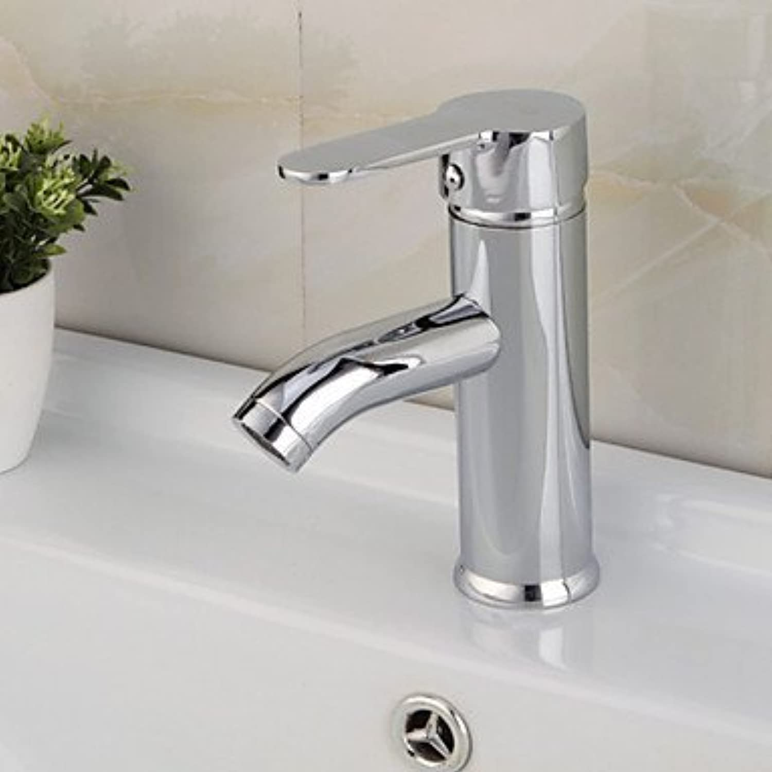 XTXWEN Water-tap Basin Faucets Contemporary Central Position Waterfall with Ceramic alve Handed a Hole for Chrome, Sink Faucet, Silvery