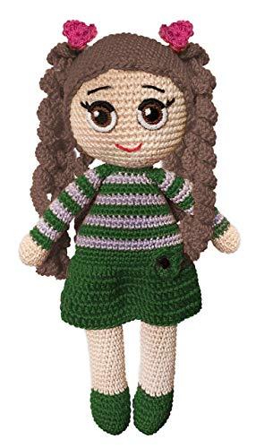 LOOP BABY - gehäkelte Puppe aus Bio-Baumwolle - mit braunen Haaren und grünem Kleid -personalisierbare Puppe mit Name