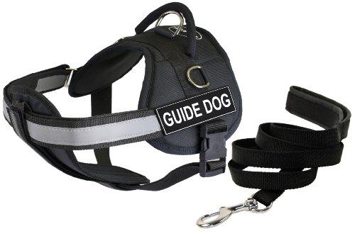 Dean et Tyler Bundle – DT Works Harnais W/rembourré Coffre, Guide Dog, Medium (71,1 - 96,5 cm) + rembourré Puppy Leash, 1,8 m en Acier Inoxydable Snap – Noir