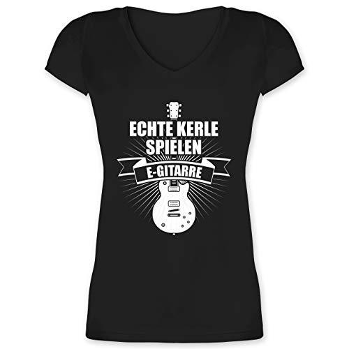 Instrumente - Echte Kerle Spielen E-Gitarre - XS - Schwarz - t Shirt Gitarre xs - XO1525 - Damen T-Shirt mit V-Ausschnitt