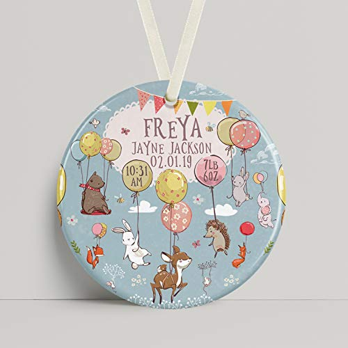 Dkisee Gepersonaliseerde Keramische Ornament Ballon Dieren Voor Een Pasgeboren Baby Of Christening Present Kwekerij Decor 3 inch