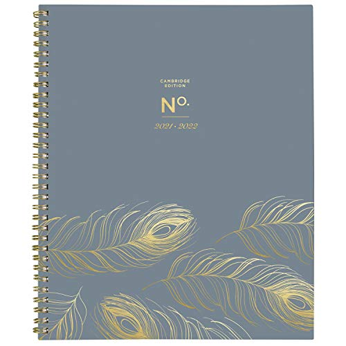 Academic Planner 2021-2022, Cambridge Monthly Planner, 8-1/2' x 11', Large, for School, Teacher, Student, WorkStyle, Gray Peacock (1557-900A)