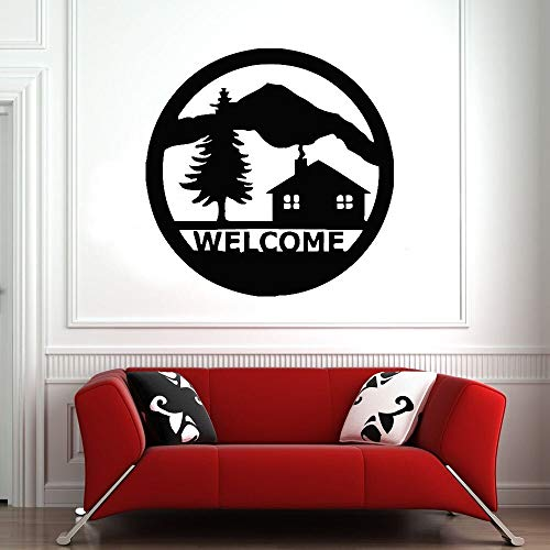 Welcome Word Wall Decal Tree Mountain House Ring Logo Door and Window Vinyl Sticker Living Room Shop Cafe Interior Art