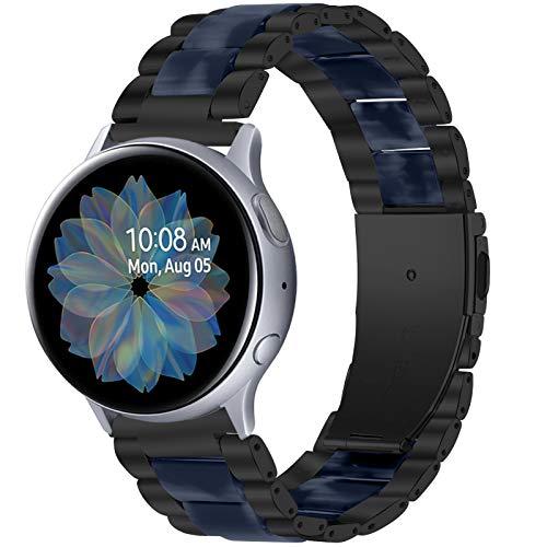 TWBOCV Gear S2 Classic Bands, 20mm Resina y Acero Inoxidable Pulsera de Repuesto Pulsera Correa de Metal Accesorios para Samsung Galaxy Watch 3 41mm/ Active 2 40mm 44mm/ Active/Watch 42mm (E03)