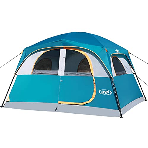 UNP Tents 6 Person Waterproof Windproof Easy Setup (3min),Double Layer Family Camping Tent with 1 Mesh Door & 5 Large Mesh Windows -10'X9'X78in(H)