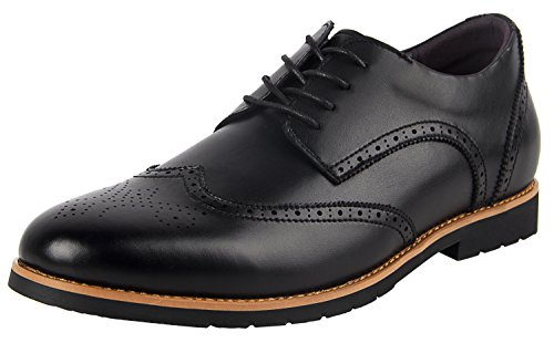 iloveSIA Mens Leather Oxford Shoes Classic Business Brogue Wingtip Dress Shoes Brown