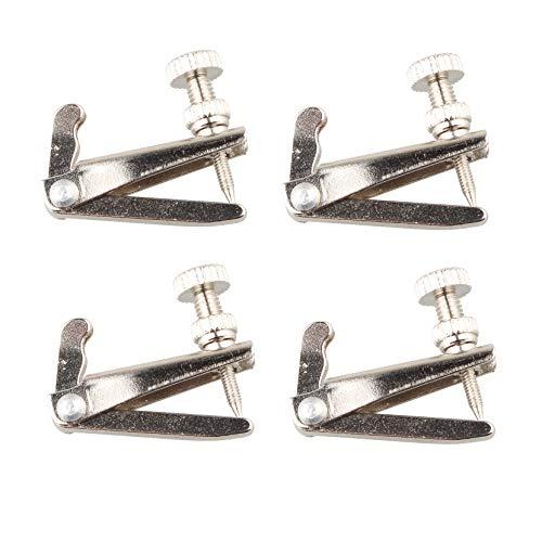 Futheda Violinen-Feinstimmer, große Größe, silberfarben, Ersatzteile für Violine in 4/4–3/4-Größe, rostbeständig, Metallsaiten-Einsteller, vernickelt