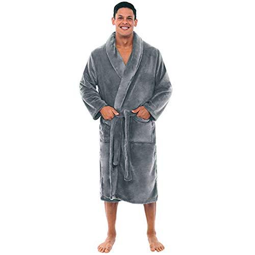 YUANYI Bata para Hombre Espesar Albornoz Soft Coral Fleece para Los Hombres Bata,Grey-XL