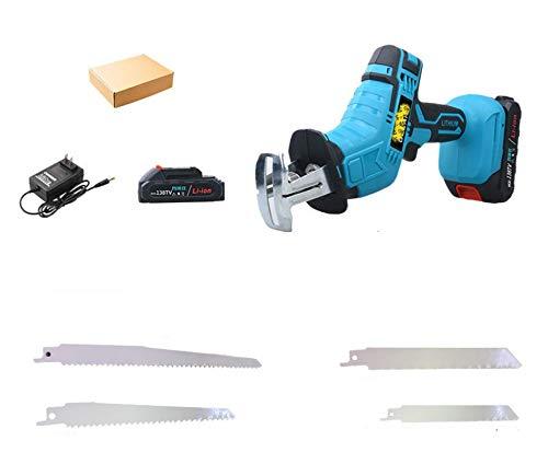 LANGYA Schnurlose elektrische Holzbearbeitung Hubkolbensäge, 21V tragbare Licht Skorpion säge mit 2000Ma Batterie und 4 Sägeblätter, Säbelsäge zum Schneiden von...