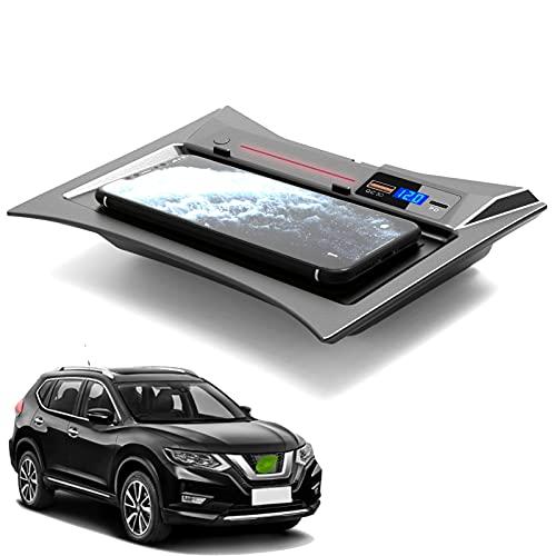 JUSTGJS Cargador inalámbrico para Coche, Compatible con Nissan X-Trail 2014-2021, Qi 15W MAX, con QC3.0 USB Wireless Phone Charging Pad Mat Accesorios para iPhone 12/11 / XS/X Samsung S20