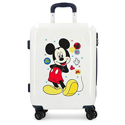 Disney Mickey Enjoy the Day Maleta de cabina Blanco 40x55x20 cms Rígida ABS Cierre combinación 37L 2,6Kgs 4 Ruedas Dobles Equipaje de Mano