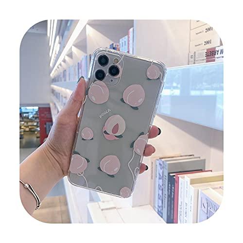 INS moda lindo melocotón pulsera transparente teléfono caso para iPhone 12 11 Pro MAX X XS XR 7 8 Plus SE 2020 chica cover-3-para iphone SE 2020