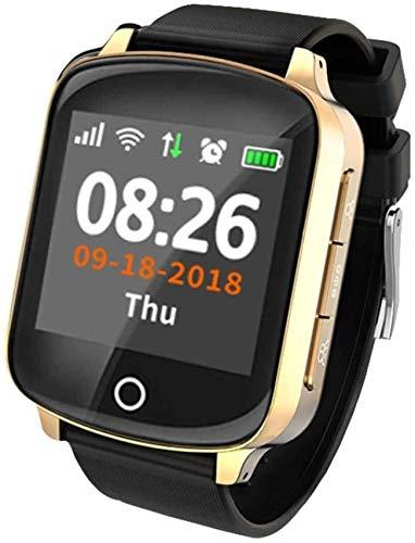 XIAOWANG Fitness Tracker Armbanduhr mit Smart Watch GPS Tracker Locator für ältere Frauen Männer mit Smartwatch Fallschutzherzfrequenz-Blutdruck-SOS,Gold