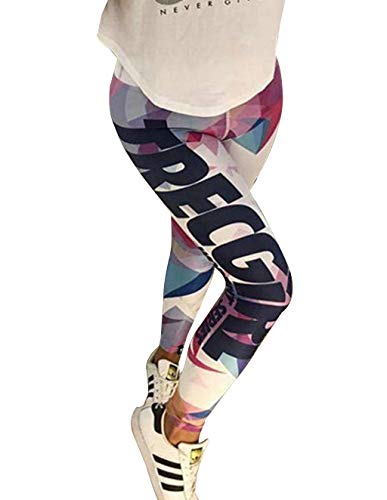 Yoga Leggings Damen, Teenager Mädchen High Waist Cartoon Brief Drucken Yoga Hosen Leggins Hoher 3D Bunt Sportleggins Jogginghose Training...