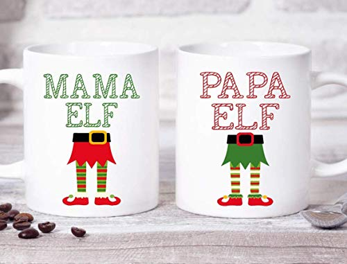 Dozili Mama Elf Mok Papa Elf Mok Elf Koffie Mok Cadeau voor Haar Kerst Mok Kerstmis Cadeau voor Moeder Novelty Cadeau Leuk Cadeau Idee Mok Cadeau, 11 Oz, Wit