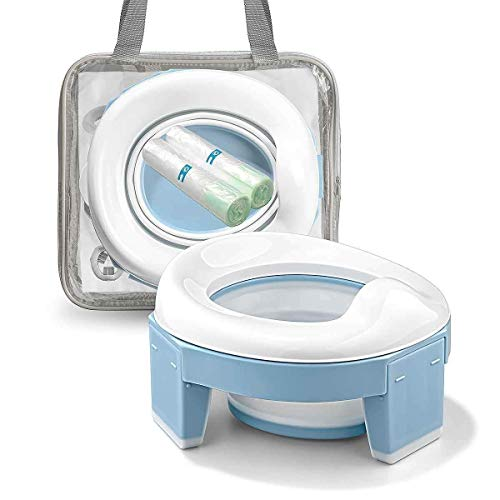 Vasino Portatile da Viaggio Sedile per Bambini 3-in-1 Riduttore Water Allenamento WC Toilette Pieghevole Riutilizzabile Liner (Blu Colore)