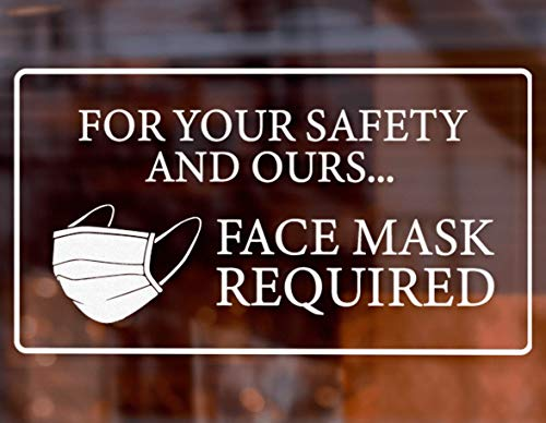 Face Mask Required Sign (5 PCS) - Safety Decal in White for Easy Visibility and Style 9