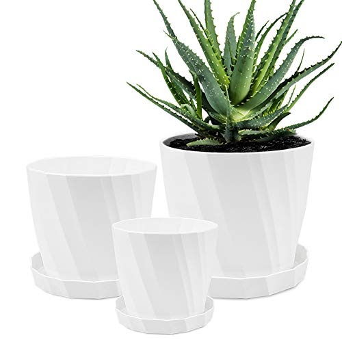 Plastic Flower Pots Outdoor Plant Holder Nordic Style Garden Pots Succulents Containers (White)