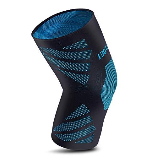 ZHIJING Kniebandage Kompression atmungsaktiv Knieschoner rutschfest elastisch rechts Links für Sport Fitness Joggen Radfahren Skifahren für Damen Herren schwarz blau L 42-47cm