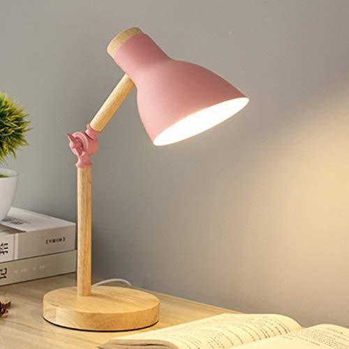 LED Lampara Escritorio Madera Brazo Regulable Lámpara De Mesa Altura 45 Cm / 17,72 Pulgadas, Lámpara De Trabajo Para Leyendo Estudiar Cabecera Oficina, Bombilla De Tornillo E27 No Incluido,Pink 1