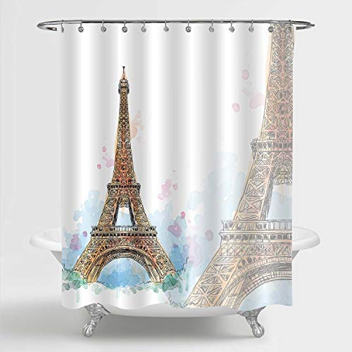 MitoVilla Hand Painted Gold Paris Eiffel Tower Decor for Bathroom, Watercolor Paris Themed Waterproof Fabric Shower Curtain Set with Hooks, Gold White Blue, 72 x 72 inches