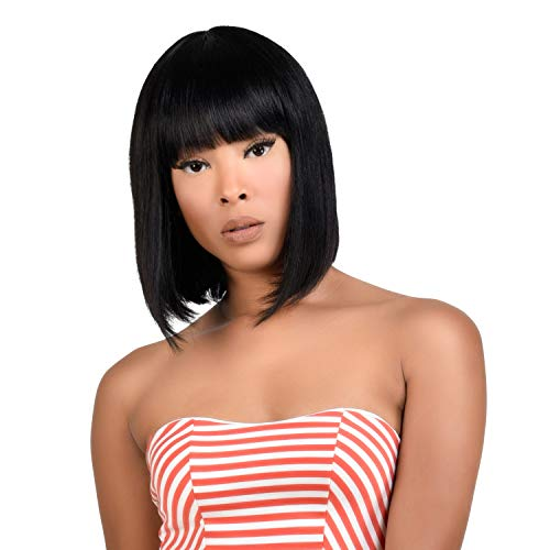 Instant Fab Medium Bob Wigs Human Hair with China Bangs for Black Women Straight Bob with Bangs Human Hair Non Lace Front Wigs - Spinel (12 Inch, NATURAL)
