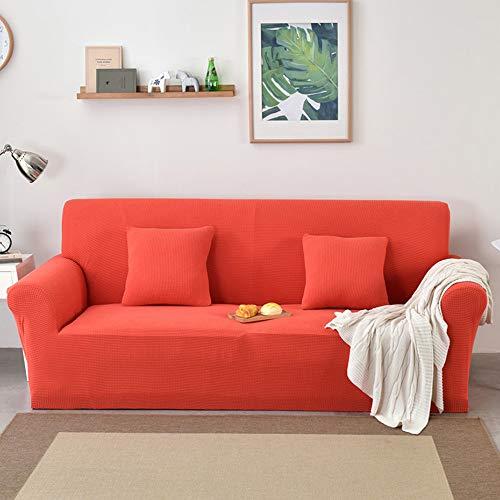 BingBing Spandex Colore Solido Copridivano Elasicizzato Antiscivolo Fodera Protettiva per Divano Protector, Arancione, 2 Posti