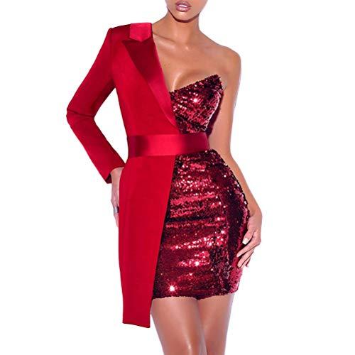 Minetom Kleider Damen Spleißen Glitzer Minikleider Elegant Rückenfreies Bodycon Kleid Schulterfrei Partykleider Blazer Kleid Rot 38