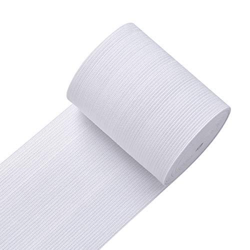 Knit Elastic Bands for Sewing White Heavy Stretch High Elasticity Flat Elastic Cord 3 Inch Wide Braided Elastic Spool 10 Yard
