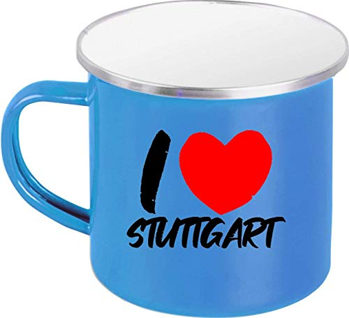 Shirtinstyle Taza de Café, Taza de Café i Love Stuttgart, Vacaciones, Heimat Familia Zuhaus, Amor, Ort, City, Bote, tee, Dicho,Proverbio, Logo - Esmalte Taza Azul