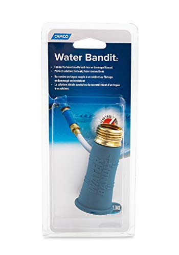 Camco (22484) Water Bandit -Connects Your Standard Water Hose to Various Water Sources - Lead Free , Blue - pressure washer sink attachment