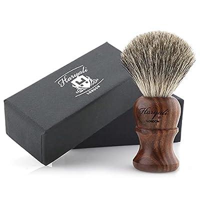 Haryali London Shaving Brush Super Badger - Wooden Mens Shaving Brush for Luxurious Lather - Long Lasting with No Bristle Loss - Ecofriendly Finish