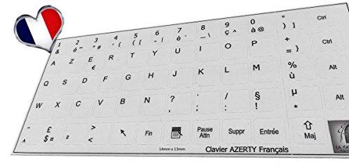 LA CAVERNE D'EABANI ® Sticker Autocollant AZERTY Clavier Français/Notebook Fond Gris 13mm*14mm