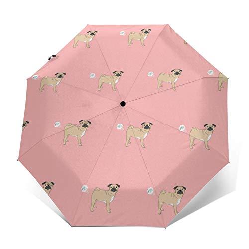 Paragüero de perro divertido de raza pura para mascotas, color rosa automático, triple plegable, impermeable, resistente al viento, duradero