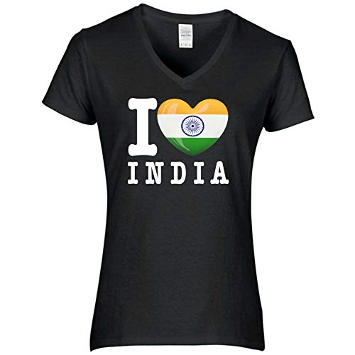 FanShirts4u Damen T-Shirt - I Love Indien India - WM Trikot Liebe Herz Heart (L, India/schwarz)
