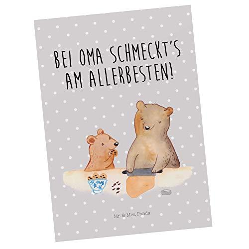 Mr. & Mrs. Panda Grußkarte, Geschenkkarte, Postkarte Oma Bär backen mit Spruch - Farbe Grau Pastell