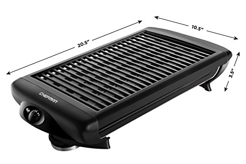 Chefman Electric Smokeless Indoor Grill w/ Non-Stick Cooking Surface & Adjustable Temperature Knob from Warm to Sear for Customized BBQ Grilling, Dishwasher Safe Removable Water Tray, Black