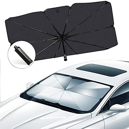isimsus Auto Frontscheibe Sonnenschirm, Auto Sonnenschutz Windschutzscheibe Regenschirm UV Schutz, Faltbarer Sonnenblende Sonnenblenden für SUV/MVP/LKW Frontscheibe und Heckscheibe - 57\'\' x 31\'\'